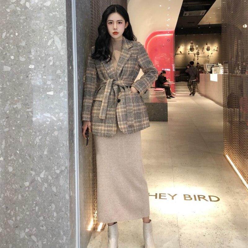 Automne Hiver Costume Blazer Femmes Formelle Laine Mélanges Veste À Carreaux Manteau Travail Office Lady Manches Longues Blazer Avec Blet