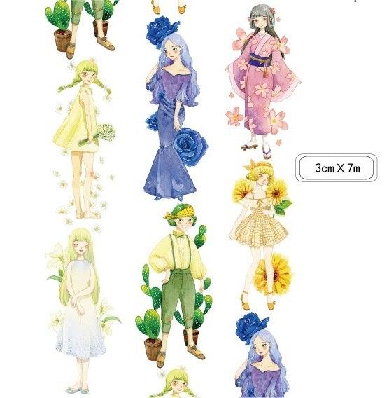 все цены на  2016NEW 1Roll=30mmx7m High Quality Girl Miss Pattern Japanese Washi Decorative Adhesive DIY Masking Paper Tape Sticker wholesale  онлайн
