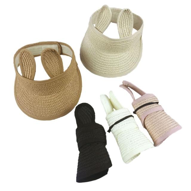 Folding Bunny Baby Hat Summer Straw Visor Cap Kids Cute Adjustable Baby Sun Hat for Boys Girls 1 PC