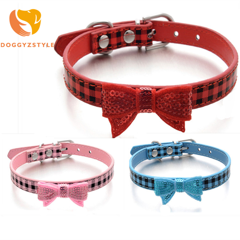 DOGGYZSTYLE Bowknot Adjustable PU Leather Dog Collars Puppy Necklace Pet Collars For Dogs Cat collar Size XS S M