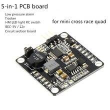 PDB board BEC-5V/12v LED light RC switch Tracker Low voltage alarm for CC3D