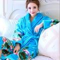 Coreano Mulheres Roupão Quimono Roupão de Banho Robe Femme Feminino Grosso Coral Fleece Pijama Sleepwear Nightwear Roupa Em Casa Vestir Vestidos