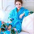 Mujeres coreanas Grueso Pijama de Coral Polar Albornoz Albornoz Kimono Femenino Femme Batas de Dormir Ropa de Hogar