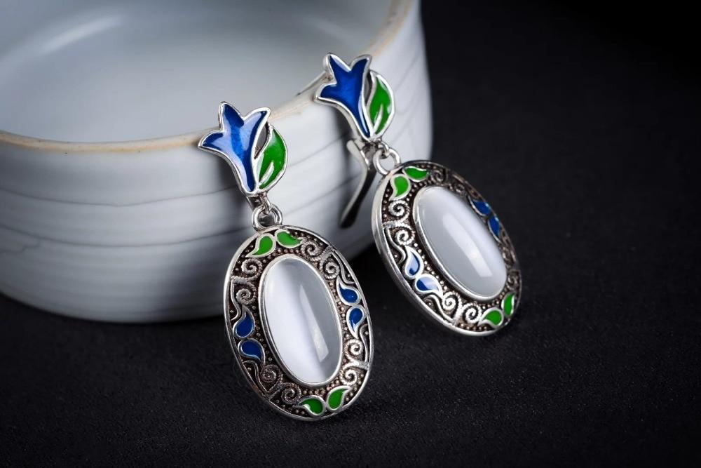 women jewelry Brincos earring Pendientes Natural Green Jade 925 Silver Earrings Handmade Jewelry Drop