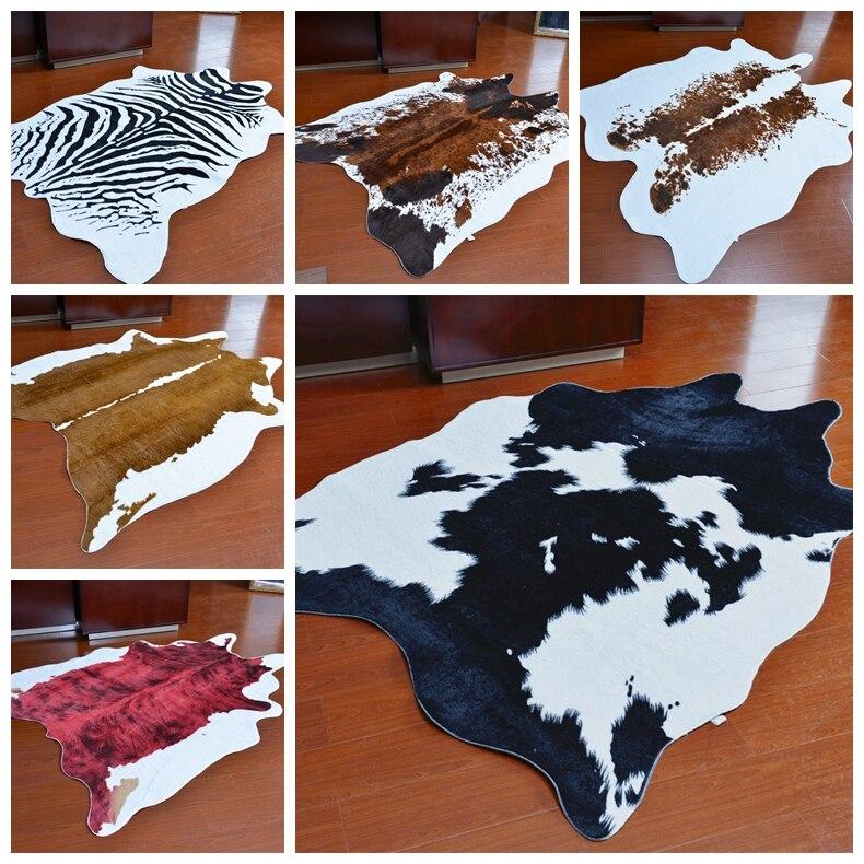 Zebra Cow Leopard Printed Carpet for Living Room 135X180CM Velvet Imitation Leather Rugs and Carpets Bedroom Non-slip Mat