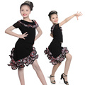 New Arrival Cheap Professional Girls Dew Shoulder Unequal Leopard Dress Child Kid Performance Latin Dance Shirt Suit