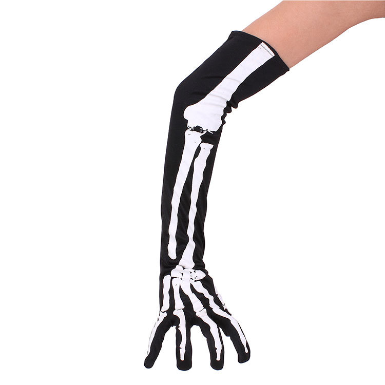 Halloween Skeleton Gloves  43cm Long Arm Warmer Elastic Tight Spandex Warm Gloves Superhero Party Cosplay Costume Accessories