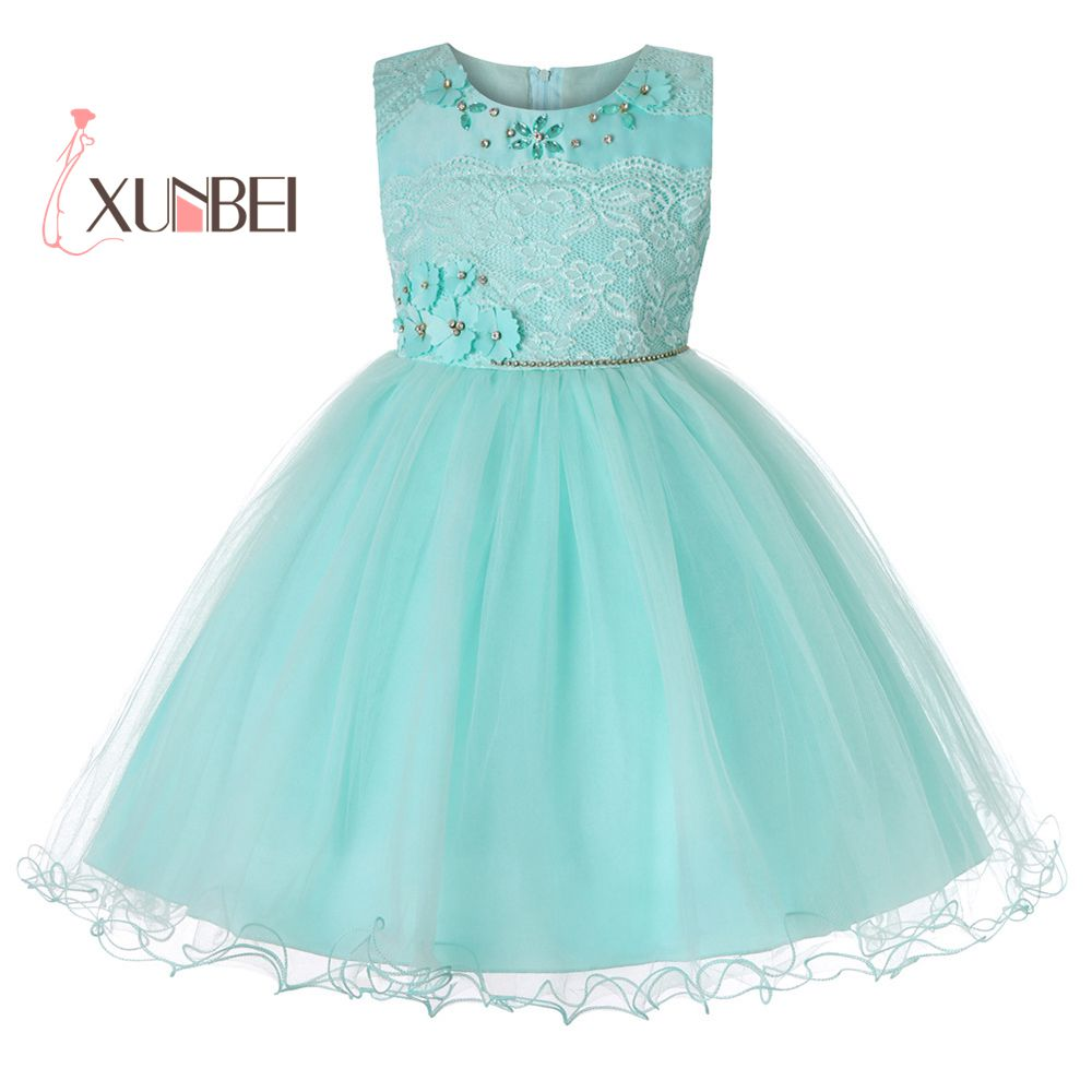 New Arrival Princess Knee Length Flower Girl Dresses 2019 Beading Flower Kids Girls Party Dress Girls Communion Dresses