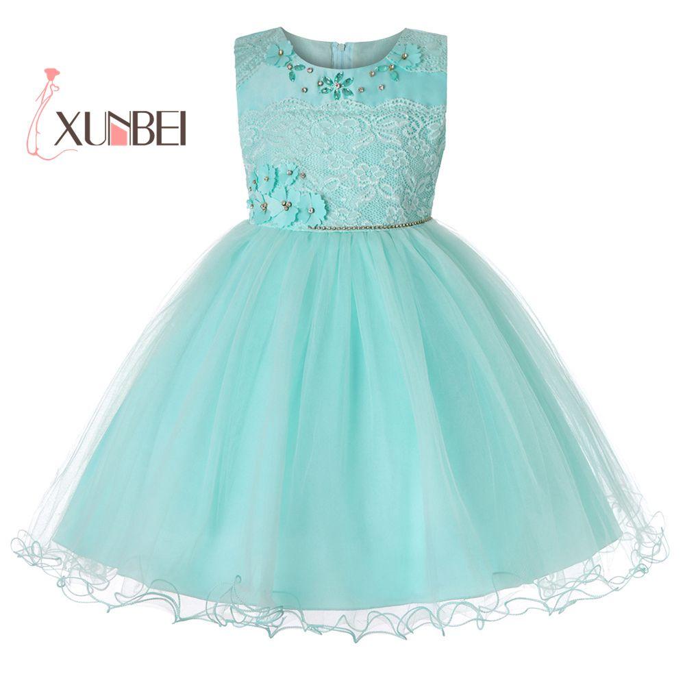 New Arrival Princess Knee Length Flower Girl Dresses 2019 Beading Flower Kids Girls Party Dress Girls Communion Dresses