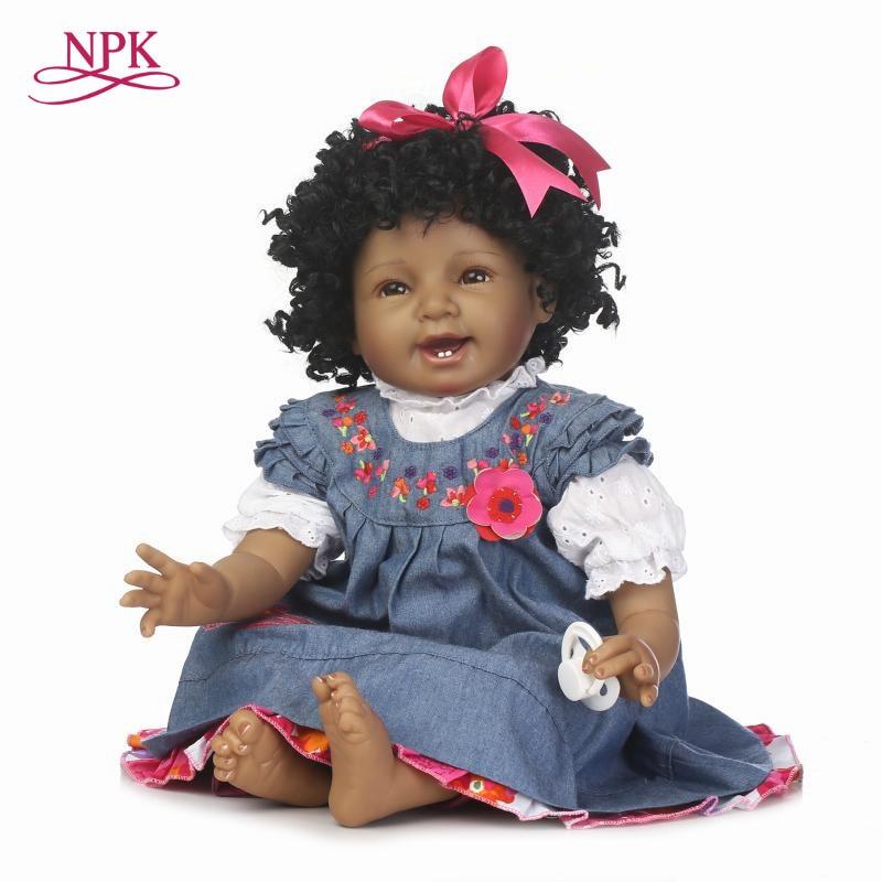 NPK boneca reborn bébé poupée noir simulation bébé vinyle silicone toucher meilleur cadeau pour les enfants et les amis lors de l'anniversaire