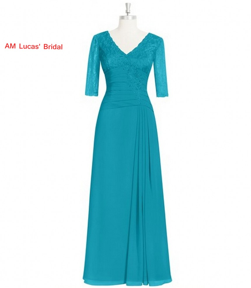 Simple Long Evening Dresses With Lace Sleeves Floor Length