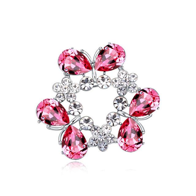 Projeto bonito Da Borboleta Mulheres Broche Broches Forma de Lágrima de Cristal de Swarovski Austríaco Elements Feminino Doce Charme Jóias