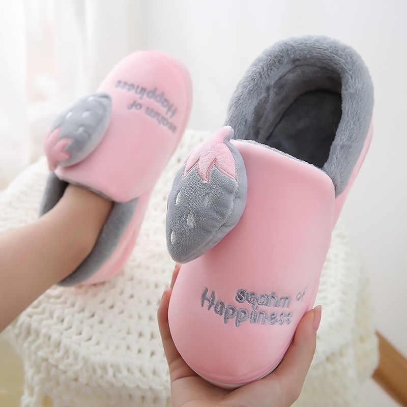 Zapatillas para el hogar de invierno para mujer, zapatos de moda de fresa, zapatos de abrigo para mujer, deslizamientos para mujer, Rosa negro, talla grande, 35- 46