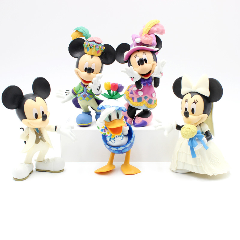 5 Pcs/set 12 Cm Minnie Mickey Mouse Marry Action Disney China Red Dolls Kids Toy Figures Wedding Present Kids Gift