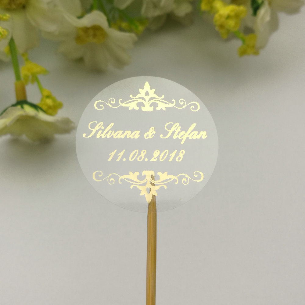 100pc Customized Invitation Wedding Baptême Hennaday Round Flower Labels Clear Transparent Circle Seals Sticker 3CM