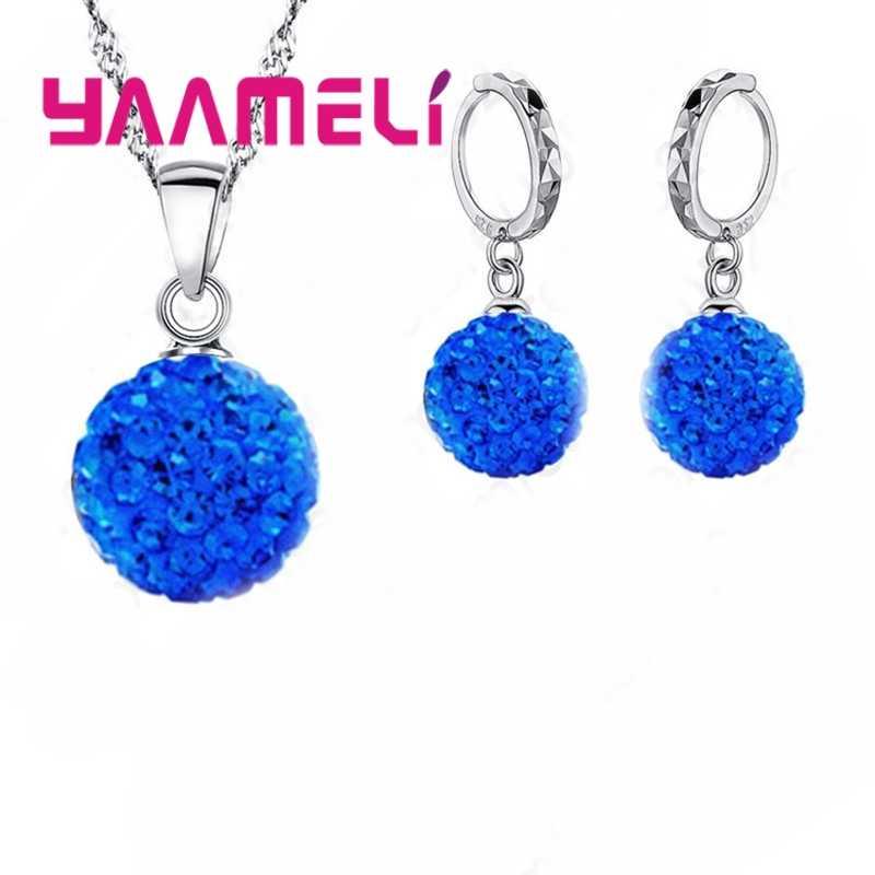 Mehrere Farbe Frau Trendy Kugel Form Schmuck Sets 925 Serling Silber Shinning CZ Halskette Ohrringe Großhandel