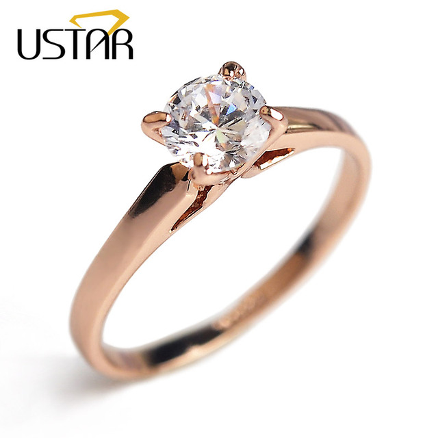 USTAR 4 prong setting AAA Zircon wedding Rings for women jewelry Rose Gold color crystal engagement ring female Anel Top Quality