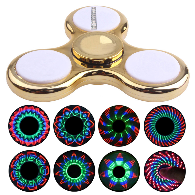 Plating LED Hand Finger Spinner LED Plastic EDC Fidget Spinner For Autism and ADHD Relief Focus