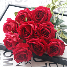 Artificial roses flowers wedding bouquets high simulation flannel home car party Festive decoration