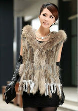 Classic Womens Real Knitted Rabbit Fur Vest with Hoody and Raccoon Fur Trimming Fashion Real Fur Waistcoat LX00290