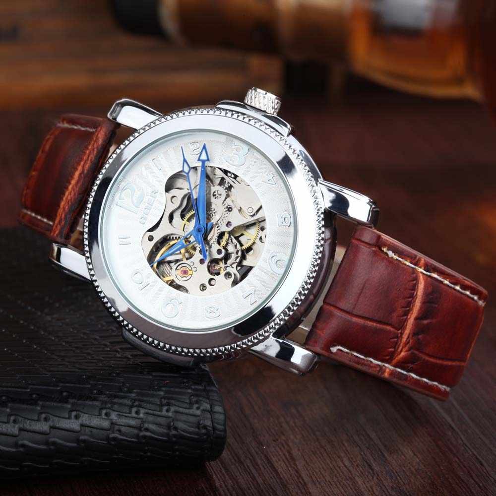 07f74153724 Relogio Masculino Brand GOER Skeleton Watches Leather Band Automatic  Mechanical Watches Fashion Casual Men Wrist Watches