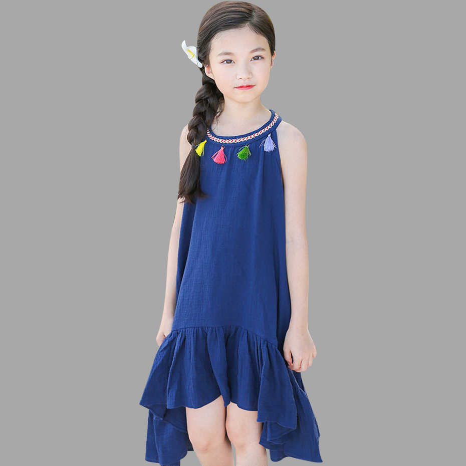 8bc0f6b9adc4709 Летнее платье для девочек, однотонное платье с кисточками для девочек 6, 8,  10