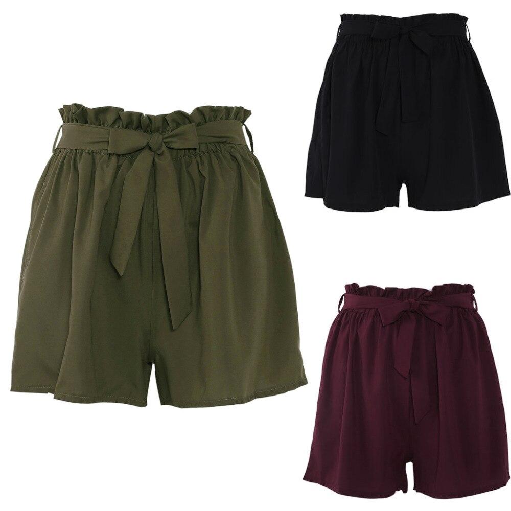 Women High Waist   Shorts   Women Sexy Smocked Belted Beach Summer   Shorts   Loose Elastic Waist Streetwear Wide Leg   Shorts