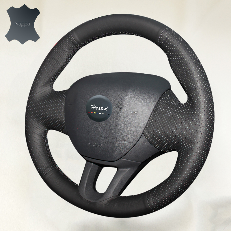 Steering Wheel Cover for Peugeot 2008 low equipped 2014 DIY braid on the steering wheel Anti-Slip Soft leather car styling