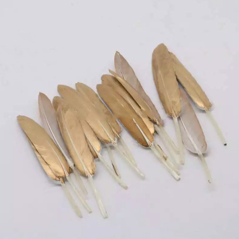 New Arrival 100pcsBeautiful Gold Painting Goose Feather 4-6 Inches 10-15 cm Wedding, Party ,Home ,Hairs DIY Decoration