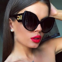 Итальянские бриллиантовые роскошные солнцезащитные очки для женщин 2019 новые высококачественные металлические хрустальные солнцезащитны...