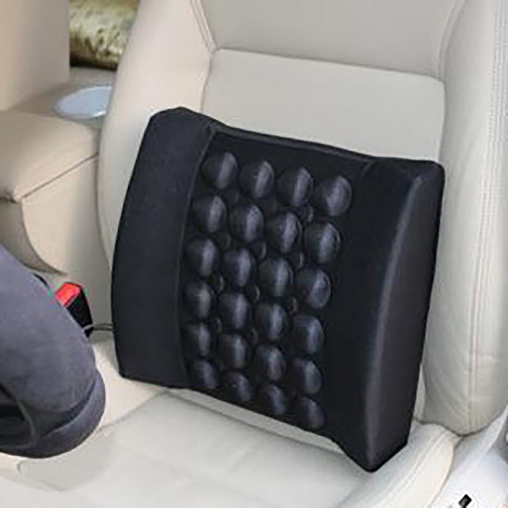 Car Lumbar Pillow with Massager to Support Waist Made with Cotton Fabric and Foam
