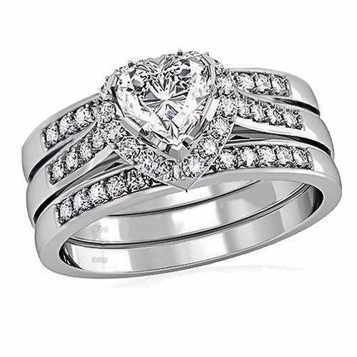 Size5-11 poire coupe bijoux de luxe 10kt or blanc rempli GF 5A CZ simulé pierres femmes mariée mariage coeur 3 in1 anneau ensemble cadeau