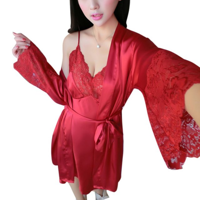 f82200d92927 Black Noir Lace Sleepwear New Sexy Womens Silk Satin Ladies Pajamas  Sleepwear Robes Nightdress Nightgown UK 2 PCS