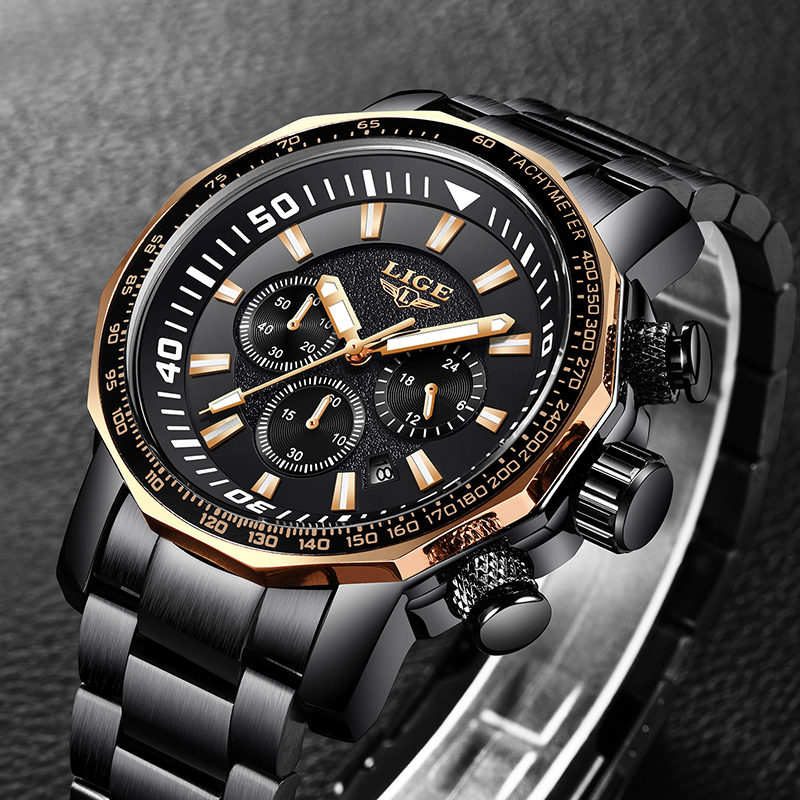 2018 New LIGE Top Brand Luxury Black Stainless Steel Strap Large Dial Casual Watch Men Sport