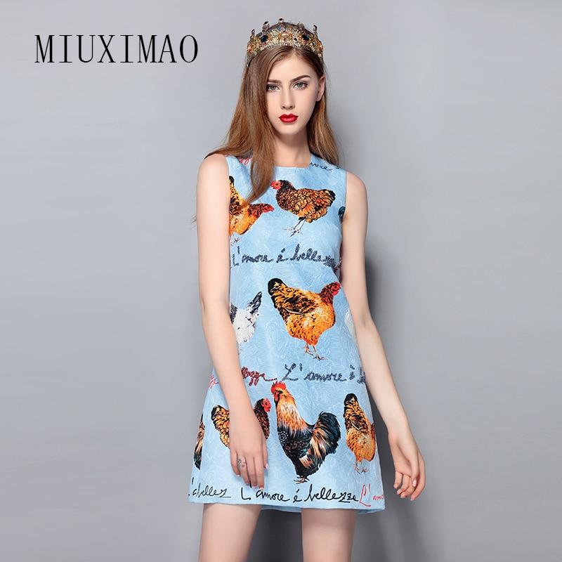 2019 printemps et été nouveauté mode a-ligne o-cou sans manches réservoir diamants poulet imprimé élégant au-dessus du genou robe femmes