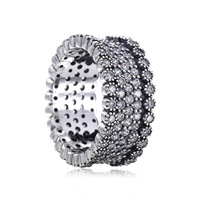 Original 925 Sterling Silver Simple Style Classic Round Shape Crystals Finger Pandora Ring Authentic Luxury Women