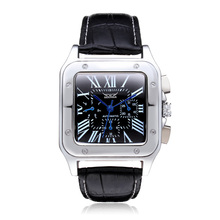 Jargar Men's Watch Casual Autoamtic Steampunk Transparent Genuine Leather Band Mechanical Wristwatch Color Black