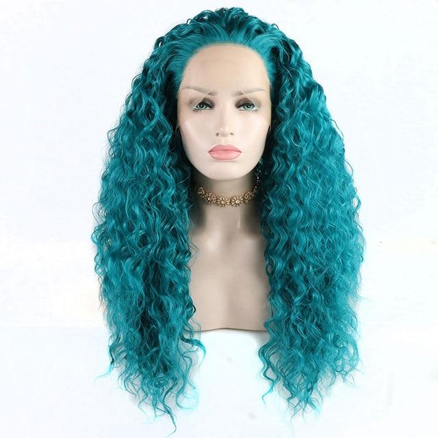 Bombshell 180% Densidade Azul Bouncy Curly Resistente Ao Calor de Fibra Mão Amarrada Peruca Dianteira Do Laço Sintético Perucas Linha Fina Natural Para As Mulheres