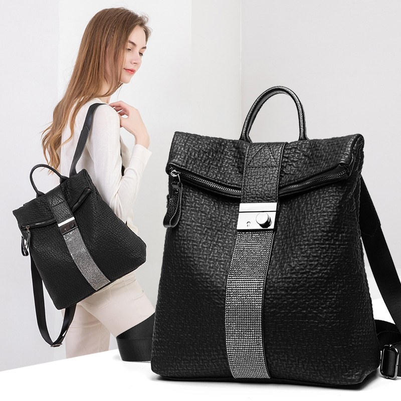 2019 fashion simple anti theft backpack New High quality women diamond leather backpacks large size travel