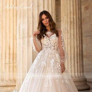 Image 5 - アシュリーキャロルaラインのウェディングドレス 2020 パフスリーブロマンチックなビーズアップリケボタン花嫁ガウンビーチ自由奔放に生きるvestidoデnoiva