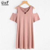 Dotfashion Crisscross V Neck Open Shoulder Tee Dress 2018 Pink Cut Out Shift Mini Woman Dress