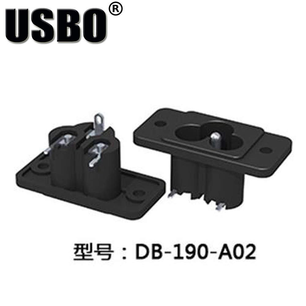 Good Quality Ce Rohs Black Ac Power Socket Terminal Wire Foot 90 Degree Flapper Feet With Ear Screw Hole Fixed Plum Outlet Electrical Plug