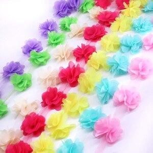 H628 24pcs 6CM flowers 3D Chiffon Cluster Flowers Lace Dress Decoration Lace Fabric Applique Trimming Sewing Supplies