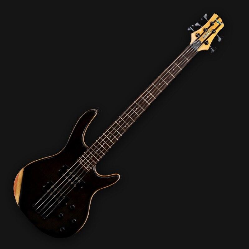 Professionnel bande performance 4-cordes basse électrique rosewood matériel 5-chaîne basse électrique matériel d'importation Noir guitare Basse