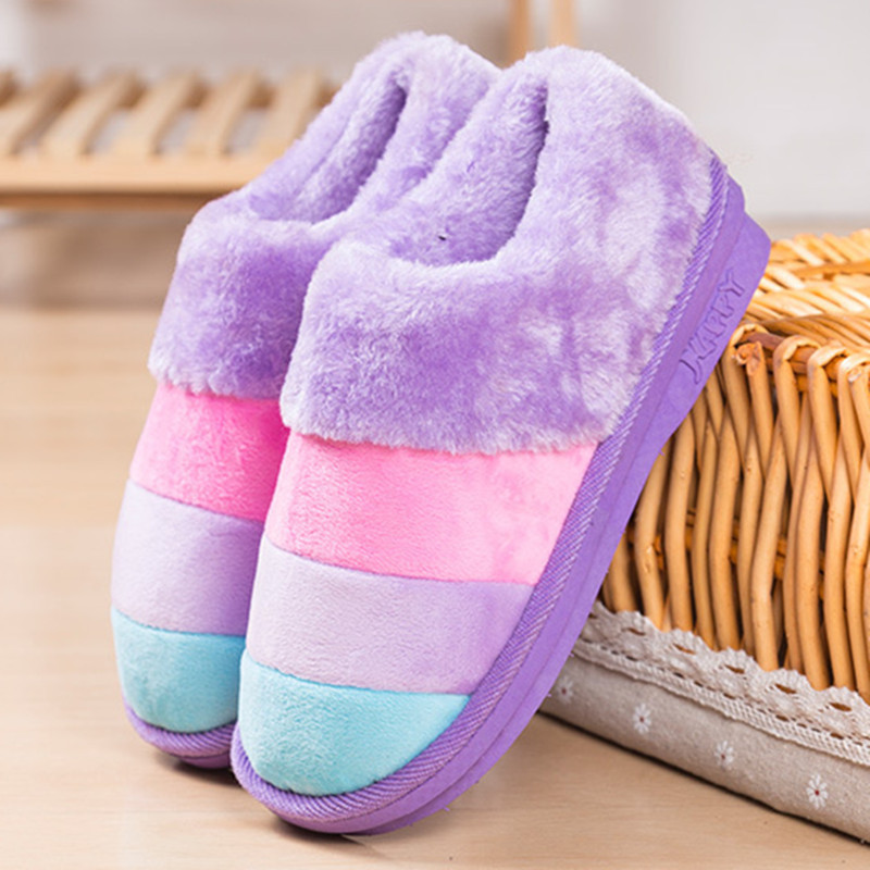 Warm Fashion Winter Unisex Slippers Color Striped Mens Home Slippers Couples Home Cotton House Mens Slippers