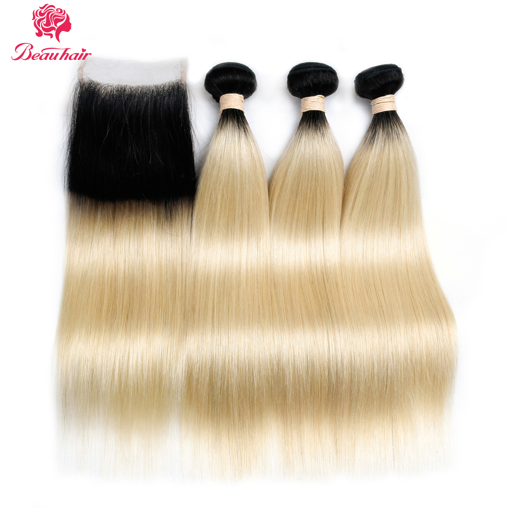 Beau Hair Non Remy Hair Ombre Color 1B/613 Hair Wefts 3 Bundles With 4x4 LaceClosure Malaysian Straight Human Hair Free Shipping