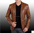 Новое Объявление 2015 Горячее Надувательство Бренд мужской Одежды Высокого класса Овечьей Шкуре Костюм Воротник Мужская Кожаная Куртка Черный, коричневый S-3XL