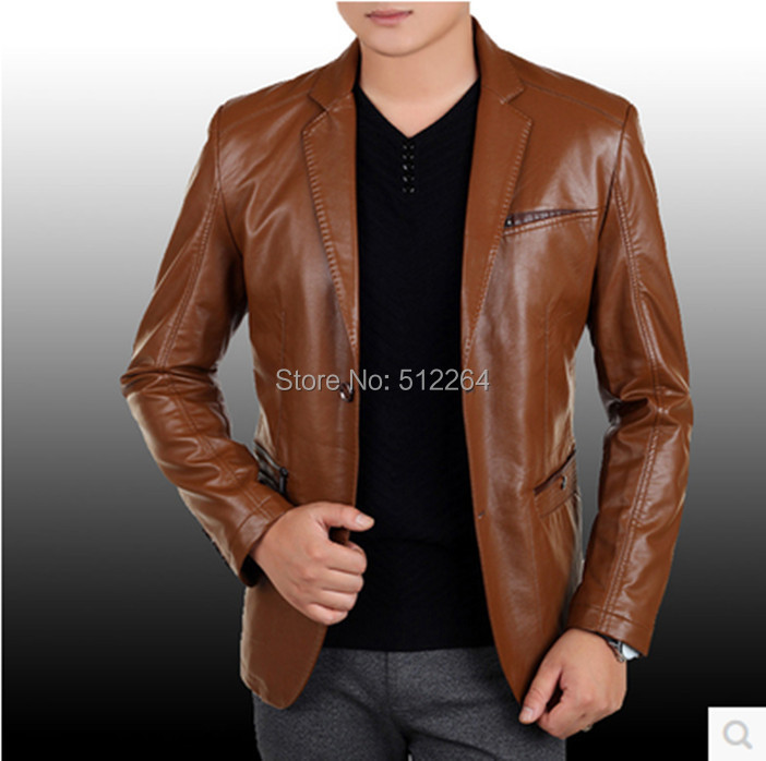 Leather Jacket Men 2017 Hot Sell Brand Mens Clothing High-grade Suit Collar Men Leather Jacket Black ,Brown S-3XL