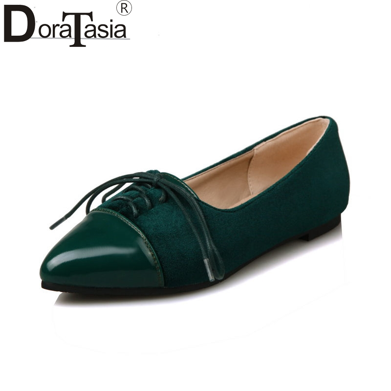 DoraTasia 2018 Spring Autumn Hot Sale Shallow Flats Women lace-up Patchwork Shallow Shoes Woman Big Size 34-43 Casual Shoes hot sale spring autumn handmade flats