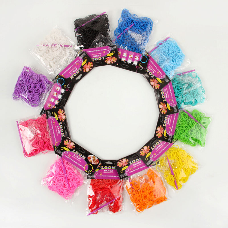 Normal color rubber band loom bands 600 pcs + 12 S clip 1 hook colors available